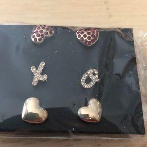 Avon Hugs and Kisses Stud Earring Trio Hearts